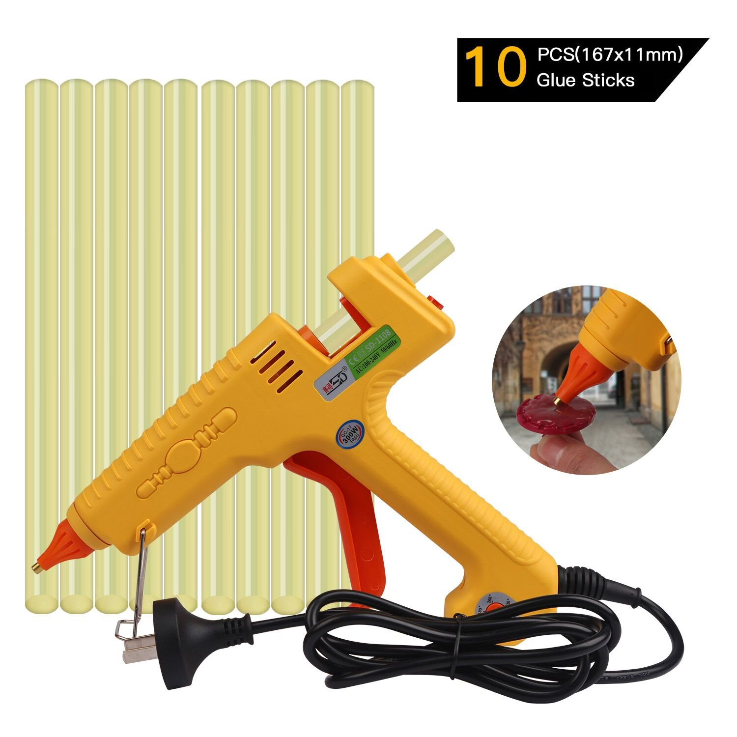 FLY5D 300W Hot Melt PDR Glue Gun With 10pcs Super Sticky Glue Sticks for Auto Metal Dent Puller Repair Home Use DIY For Arts & Crafts & Sealing and Quick Repairs (300W glue gun set)