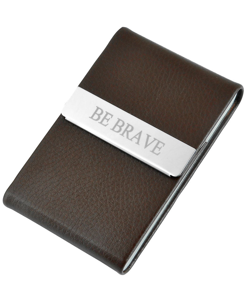Ayliss Custom Engraved Business Card Holder Personalized Text Card Case,Brown-customed