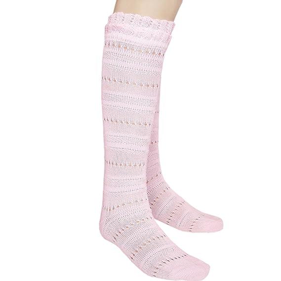 Las niñas sin costuras rodilla alta calcetines de Pointelle con ...