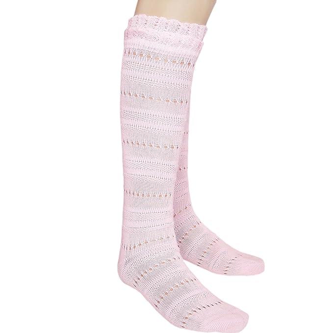 Las niñas sin costuras rodilla alta calcetines de Pointelle con suave Frilly parte superior para pies sensibles Rosa 1 pair pink Large: Amazon.es: Ropa y ...