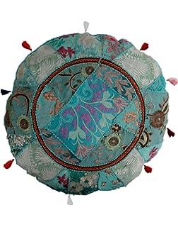 Amazon.com: My Craft Palace White Sari patchwork Floor Cushion Cover ...