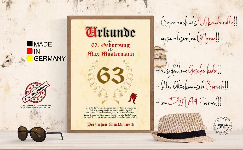 Urkunde Zum 63 Geburtstag Glückwunsch Geschenkurkunde