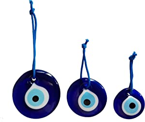 Erbulus Turkish Blue Evil Eye Wall Hanging Ornament – Turkish Nazar Beads - Triple Evil Eye Home Protection Charm Set of 3 - Wall Decor Amulet in a Box