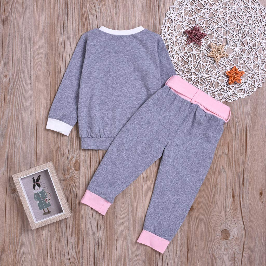 Children Kids Boys Girls Long Sleeve Heart Print Tops Bowknot Pants Homewear Sleepwear Outfits for 0-4 Years Old Little Kids Christmas Pajamas Sets,Colorful TM