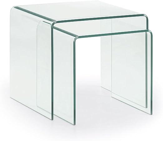 Kave Home - Set de 2 mesas auxiliares Nido Burano de Cristal ...