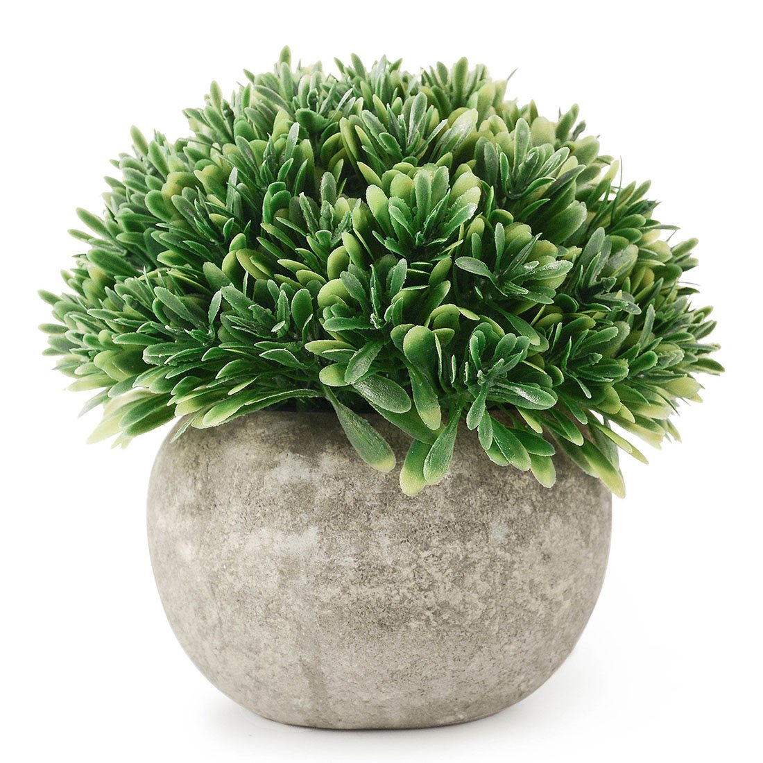 Kumii Artificial Plastic Potted Plant Small Topiary Plants in Pot, Desk Office Living Room Decoration (Green Leaf) by Kumii