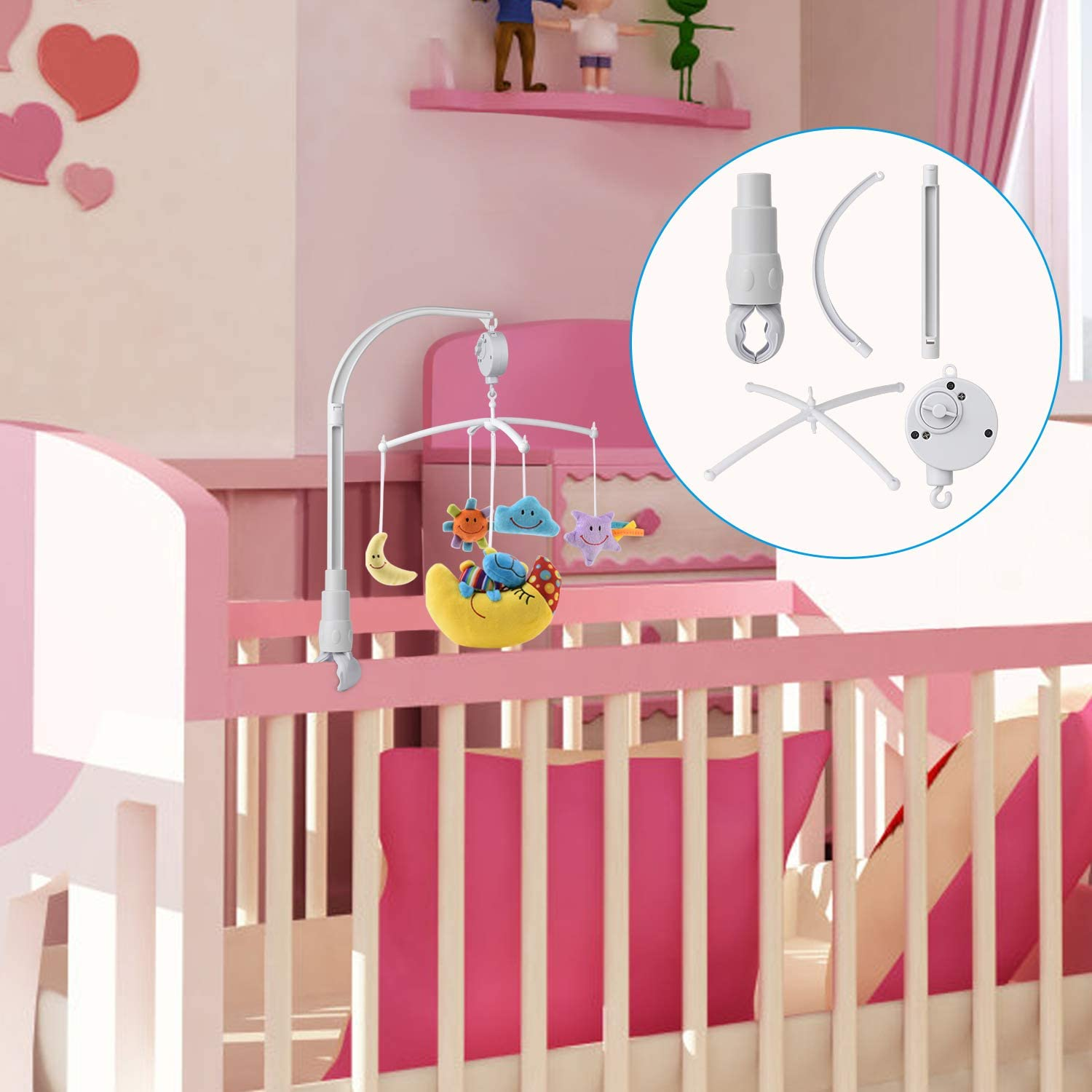 Baby Crib Mobile Musical Arm Bracket 23-Inch w Hanging Soft Toys Doll