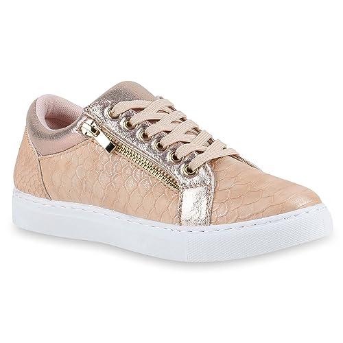 028123674999cb Damen Sneakers Lack Sneaker Low Zipper Animal Prints Freizeit Sport Damen  Leder-Optik Schuhe 141721