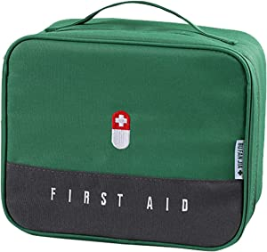 Zippered First Aid Bag Medication Organizer Emergency Empty Pouch Carrier with 5 Pockets Oxford Cloth Travel Medicine Pill Case with Handle Medical Embroidered Bags Green (9.84 x 7.87 x 5.31 inches)