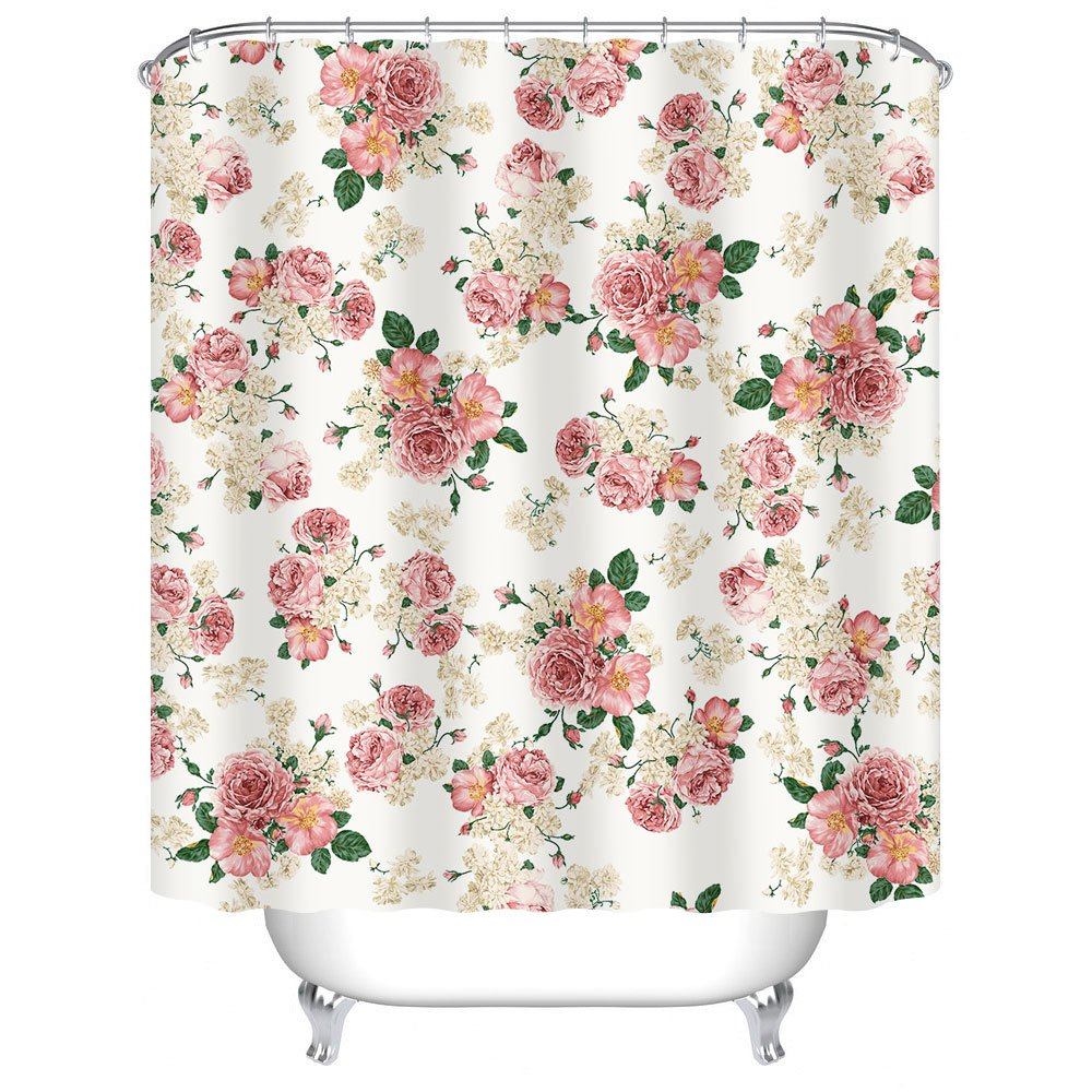 Uphome Pink Rose Flower with Leaves Customized Bathroom Shower Curtain - Pink Waterproof and Mildewproof Polyester Fabric Bath Curtain Design(72'' W x 72'' H)