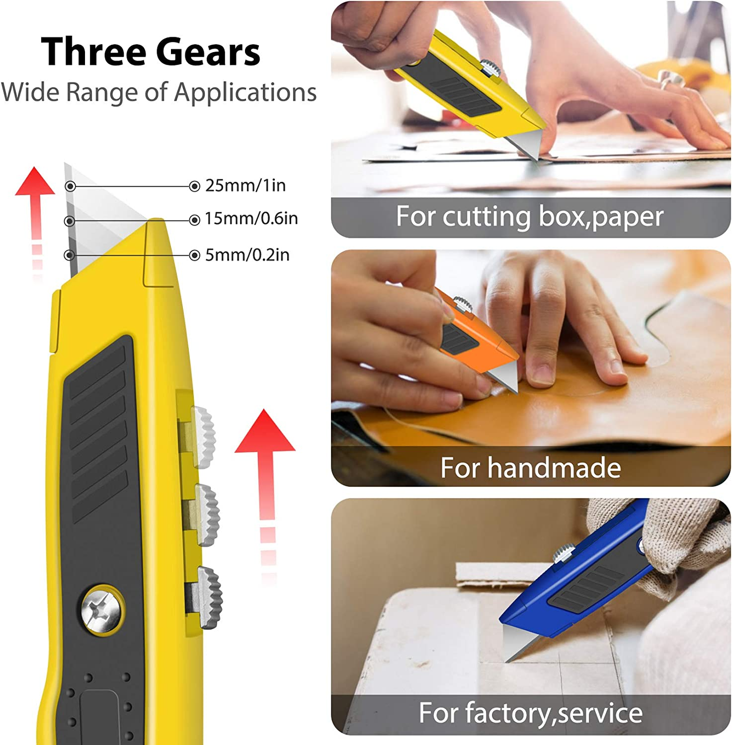 4-PACK Box Cutter Colorful Utility Knife Heavy Duty Aluminum Shell Box Cutters Retractable for Cartons, Cardboard, Boxes - -