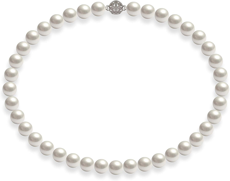 Schmuckwilly Collar real Shell Perla - Shell Perla Mar del Sur Collar blanco broche de imán dmk0017z
