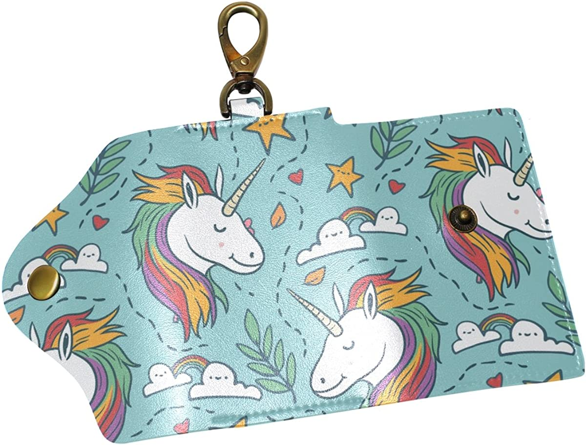 DEYYA Unicorn Leather Key Case Wallets Unisex Keychain Key Holder with 6 Hooks Snap Closure