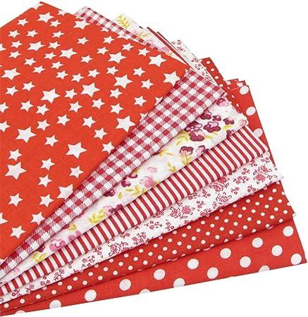 7 piezas 49cm * 49cm tela de algodón rosa para patchwork,telas para hacer patchwork, telas tilda, retales de telas, tela algodon por metros: Amazon.es: Hogar
