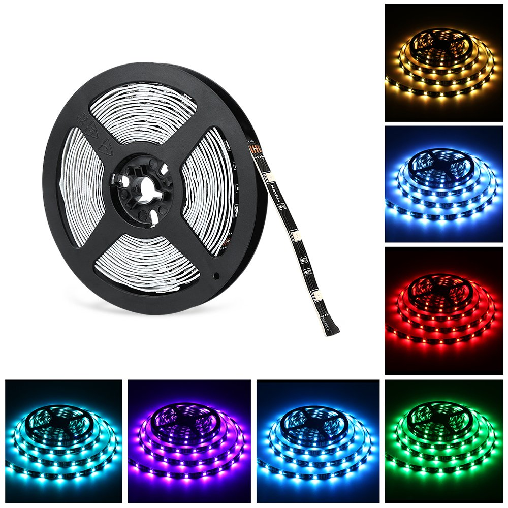 Nexlux 16.4ft LED light strip Non Waterproof 5050 SMD Single RGB LED Flexible Strip Light Black PCB Board Color Changing Decoration Lighting No power adapter and remote