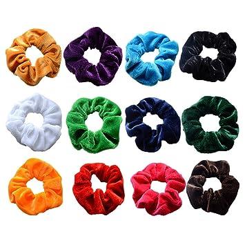 373a93747c31 Yexpress 12 Pack Velvet Scrunchies Hair Bobble Elastics Hair Scrunchy Hair  Bands Headbands Women Scrunchies Bobbles