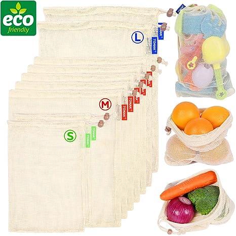 Amazon.com: Bolsas de algodón reutilizables para verduras de ...