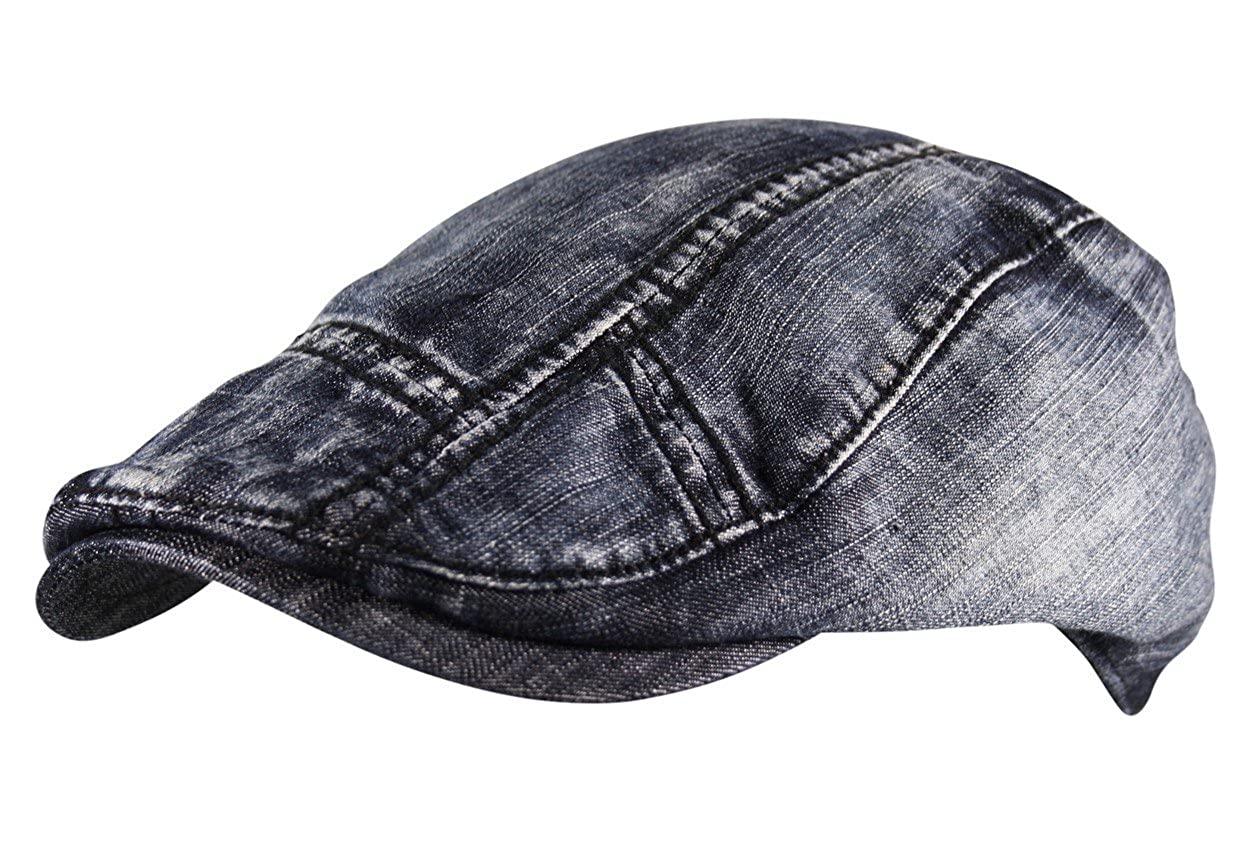 Men s Flat Cap Hat 100% Cotton Washed Denim Vintage Tweed Lined Gatsby Golf  Newsboy Distressed  Amazon.co.uk  Clothing f3c0418e1cf