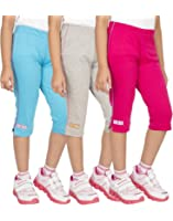 OCEAN RACE Girls Stylish attarctive colors Cotton Capris(3/4 th Pant)-Pack of 3