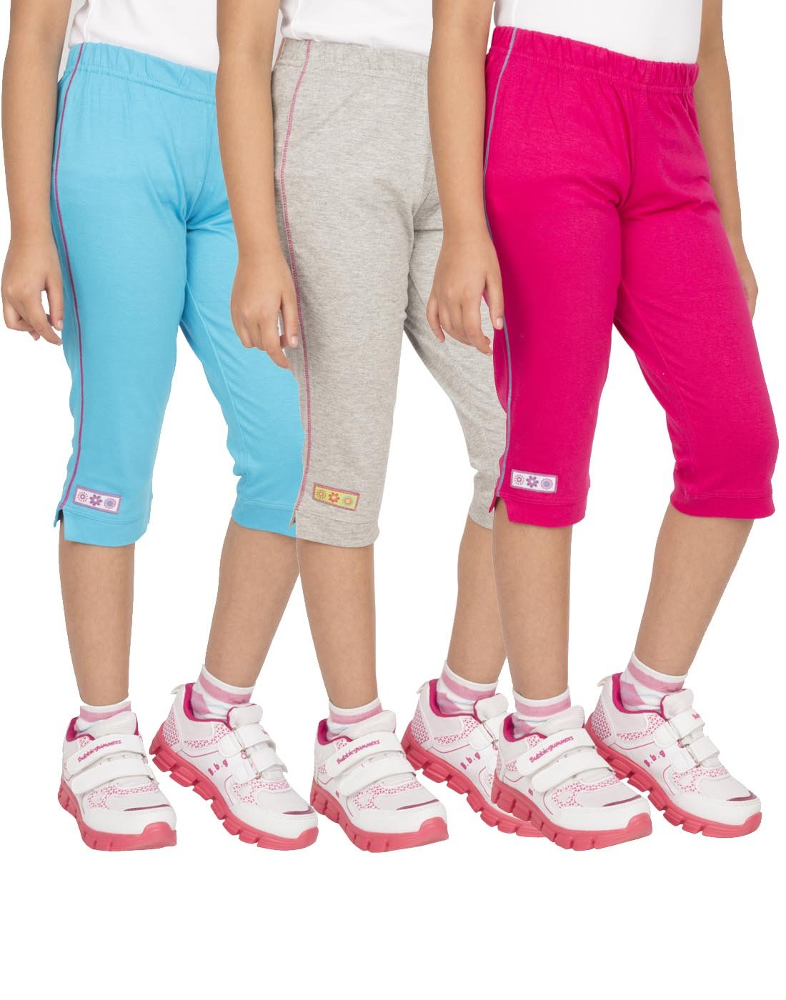 OCEAN RACE Girls attarctive Colors Cotton Capris(3/4 Th Pant)-Pack of 3 product image