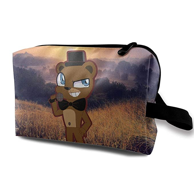 d41f008f3e Amazon.com  Five Nights At Freddy s Cosmetic Bags Portable Travel Toiletry  Pouch Makeup Organizer Clutch Bag With Zipper  Clothing