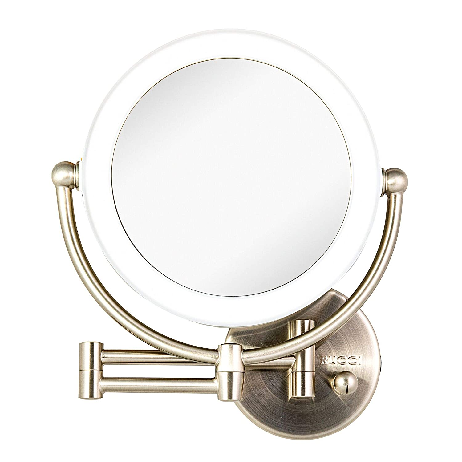 Wall Mount LED Lighted Makeup Mirror, AC Adaptor, 10x 1x Magnification, Satin Nickel Finish 8.6 D x 17.5 L by Rucci