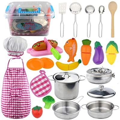 Kitchen Pretend Play Toys with Stainless Steel Cookware Pots and Pans Set, Cooking Utensils, Apron & Chef Hat, Vegetables, Fruit, Fish and hot Dogs, Pretend Little Chef for Kids: Toys & Games