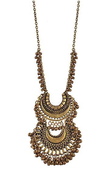 54a43a14e Buy Aabhu Afghani Designer Turkish Style Vintage Oxidised German Silver  Chandbali Tribal Antique Jewellery Set For Girls & Women Online at Low  Prices in ...