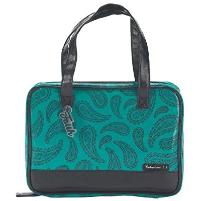 Teal and Black 7.3 x 10.3 inch Leather Like Vinyl Bible Cover Case with Handle Medium