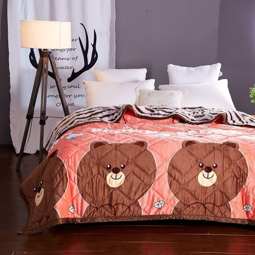 YAOHAOHAO Brown animal yellow of the image of three layers of invisible heel heat bed linen flannel quilt Winter (Size: 120200cm).