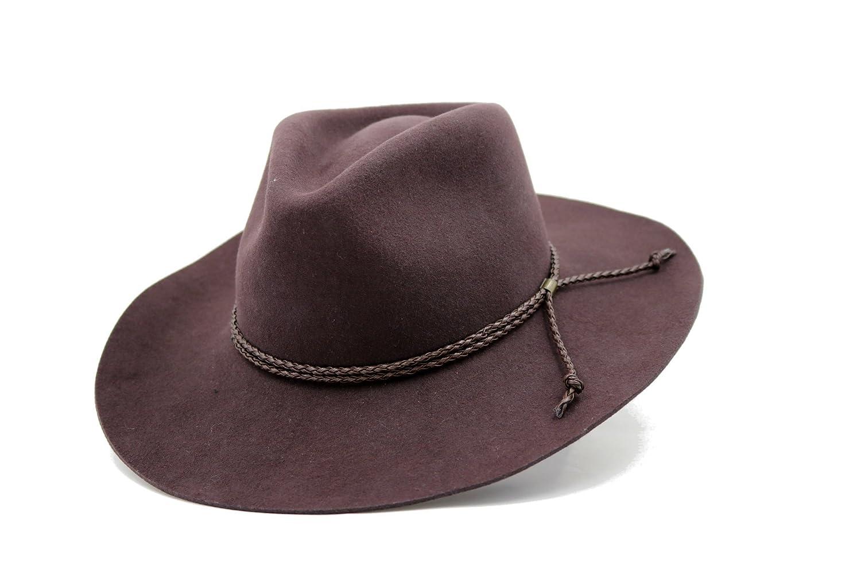 Access Headwear Mens Winter Wide Brim 100/% Wool Material Cowboy Felt Hat Black Brown
