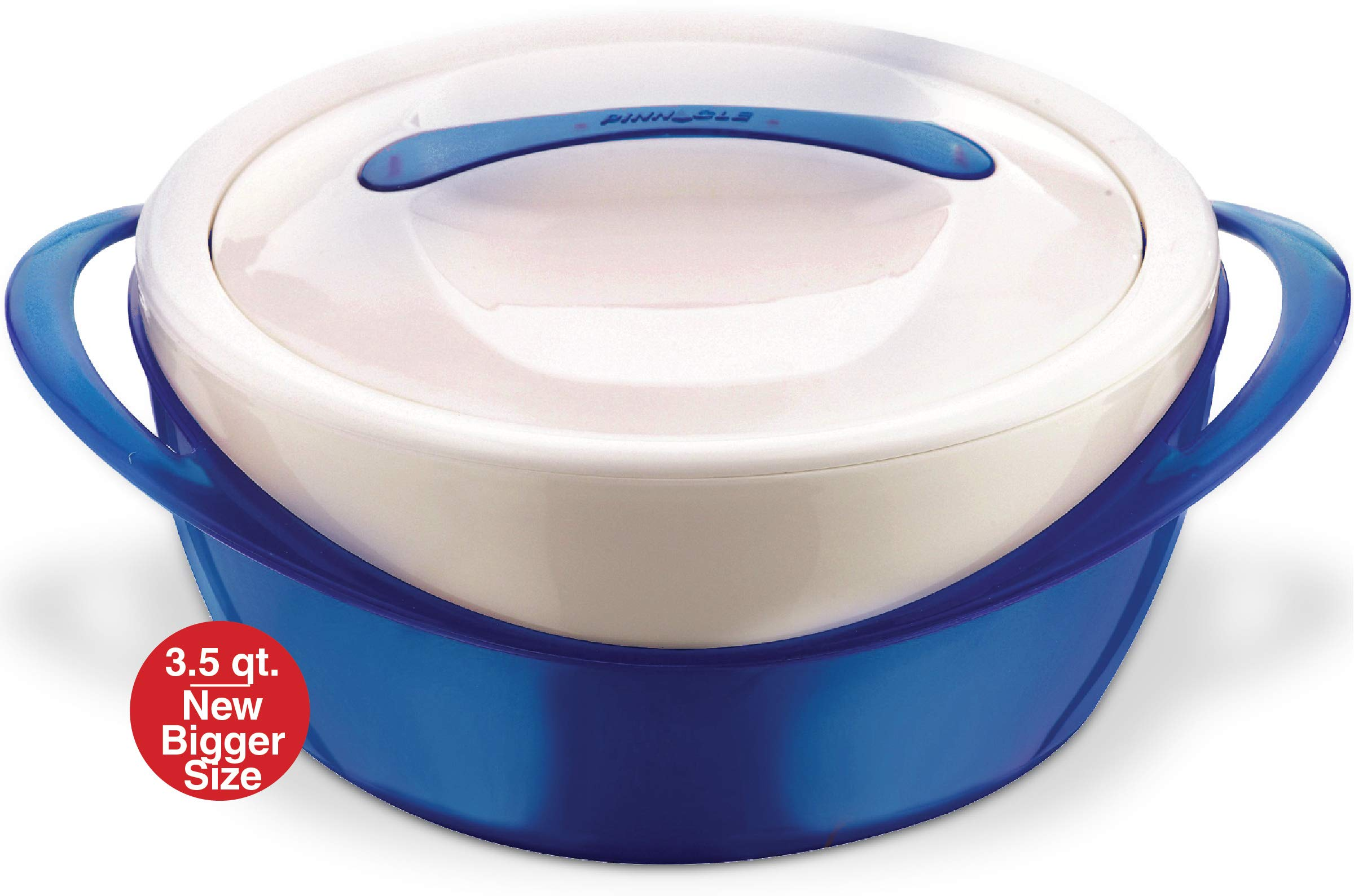 Pinnacle Casserole Dish - Large Soup and Salad Bowl - Insulated Serving Bowl With Lid (3.6 qt, Blue)