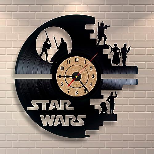 Gullei.com Black Wall Clock Star Wars Vinyl Record Design