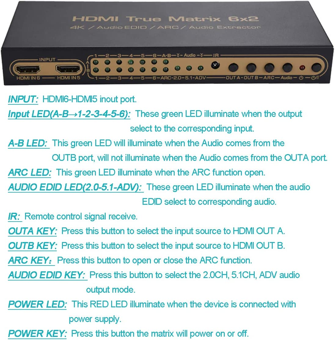 Luiizans Selector Switch Boxes 6X2 HDMI Matrix 6 in 2 Out Audio Extractor Support ARC Splitter with SPDIF Stereo Audio Output Switch 6 Signal Split on 2 HDTV