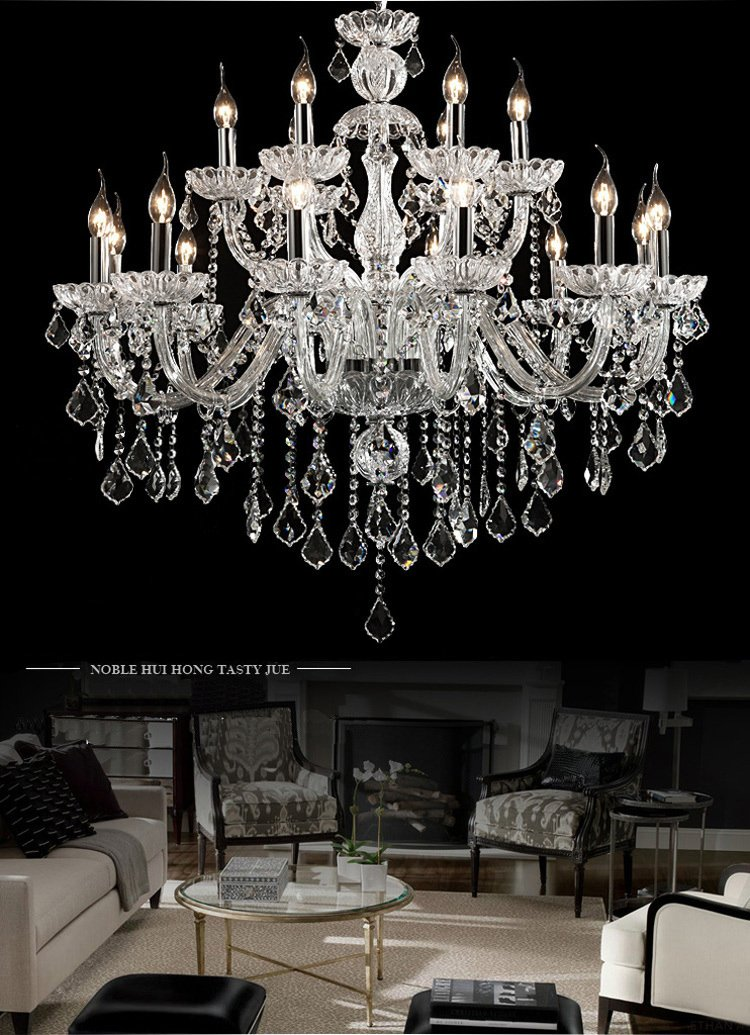 Generic Luxury Pendant Lamp Crystals Chandelier 18 Lights Arms Lamp Color Clear