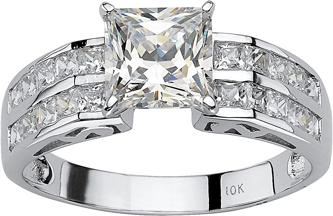 10k Solid Yellow Gold Cubic Zirconia Polished Crown Ring 2 Styles