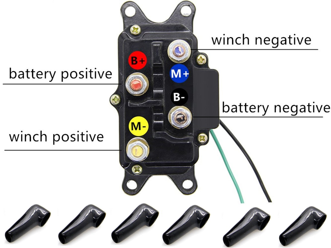 KONDUONE Universal 250A 12V Winch Solenoid Relay Contactor Thumb Truck with 6 Protecting Caps for 4x4 Vehicles ATV Polaris UTV Warn Winch Solenoid 62135 63070 74900 2875714 70715