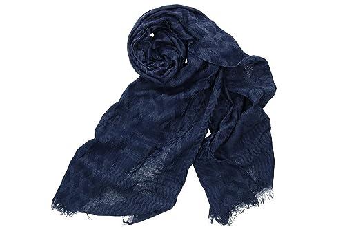 Sciarpa donna uomo GIANMARCO VENTURI blu pashmina con frange box confezione