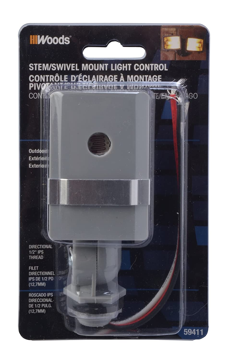 Woods 59411wd Outdoor Hardwired Stem And Swivel Light Control With Rewire A Switch That Controls An Outlet To Overhead Photocell Electrical Switches