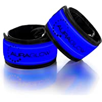 Auraglow Super Bright High Visibility Light-Up LED Arm Band Reflective Running Bracelet Cycling Safety Band - Twin Pack