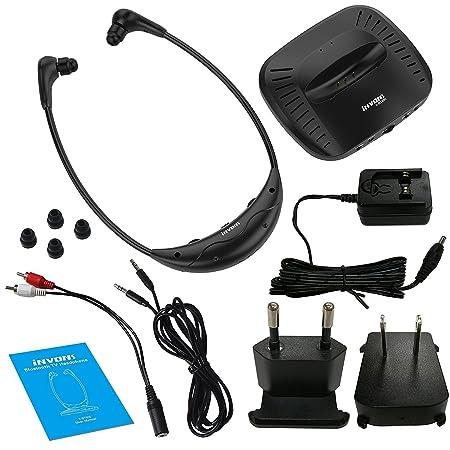 Inalámbrico TV headphones-invons Bluetooth y Bluetooth Auriculares en oreja estéreo audífono asistencia Dual Digital sistema de escucha oídos auriculares HD ...
