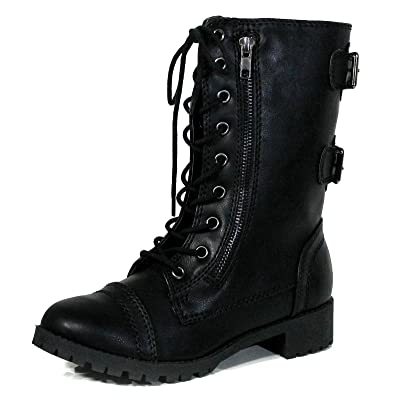 Women's Military Tactical Lace Up Mid Calf Combat Boots
