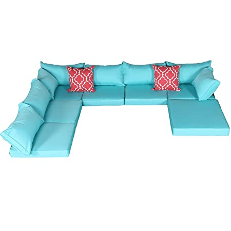 Do4U Patio Furniture Cover Water Resistant Outdoor Furniture Sets Cushion Cover Set with 2 Corner 4 Middle Ottoman Sectionals Back Seat Cushion Turquoise-15 Pieces