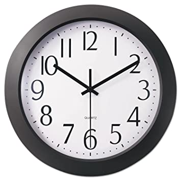 Universal 10451 Whisper Quiet Clock, 12, Black, White