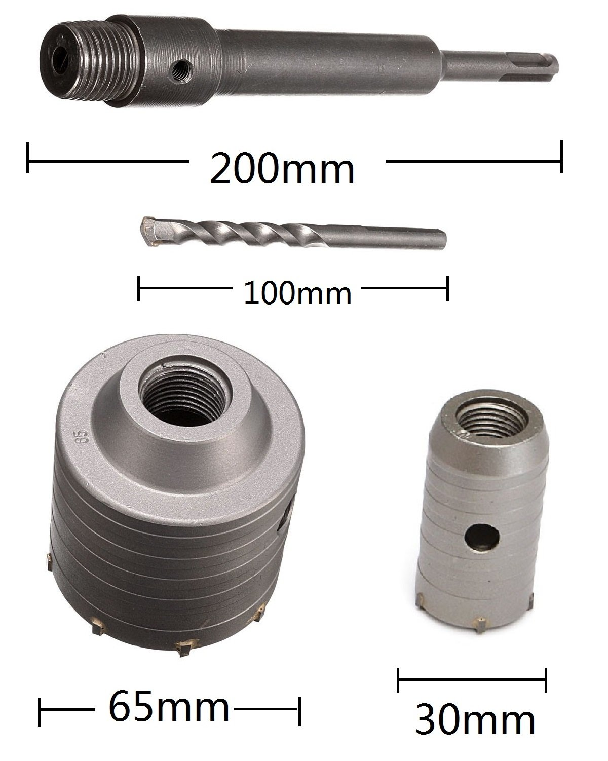 Alwaysuc 65mm + 30mm SDS Plus Shank Hole Saw Cutter Concrete Cement Stone Wall Drill Bit by Alwaysuc (Image #2)