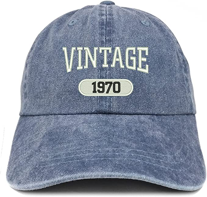 Vintage 1970 Embroidered 50th Birthday Soft Crown Washed Cotton Cap