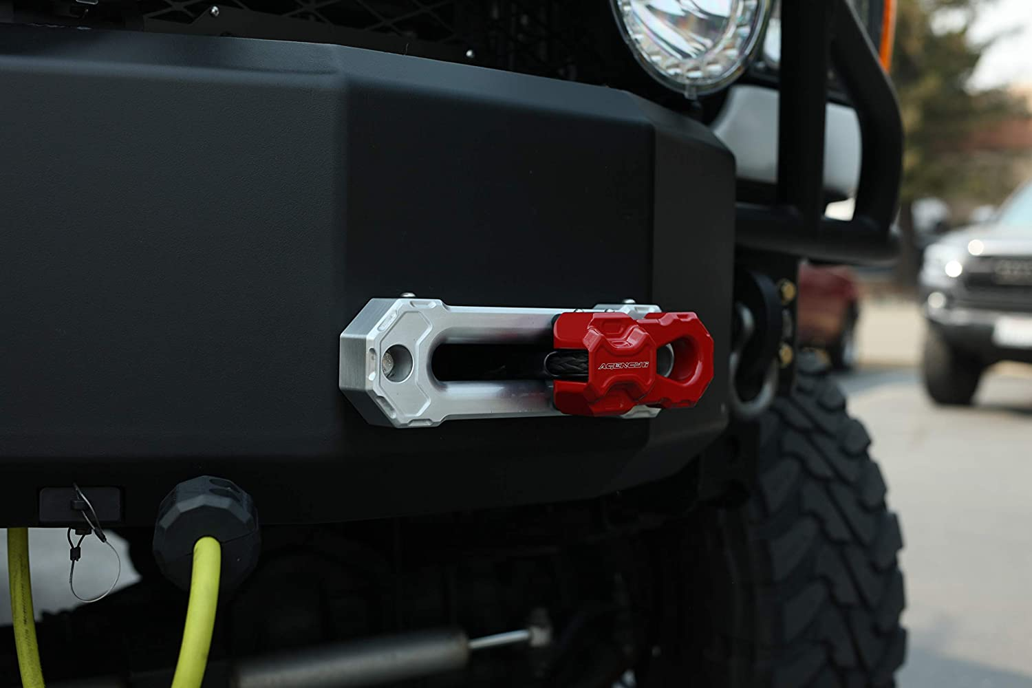 Made in The USA with US Certified Materials Agency 6 Billet Winch Shackle Lightweight Aluminum Winch Attachment for Synthetic Line Red 19,000 Pound Load Limit