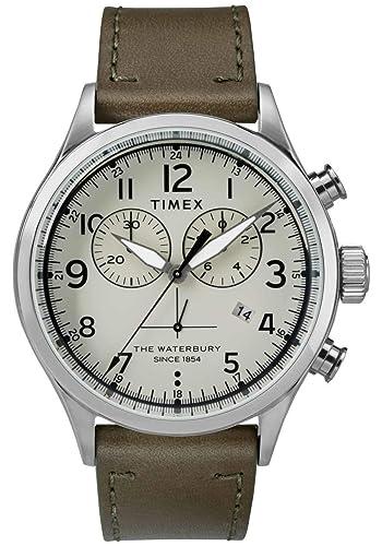 6359431ffd12 Timex Reloj Cronógrafo para Hombre de Cuarzo con Correa en Cuero TW2R70800   Amazon.es  Relojes