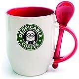Tasse Rot Löffel mit Spruch: DESPICABLE COFFEE Kaffee Geschenk Geburtstag Kaffee Becher Tasse Tee, Keramik, 300 ml