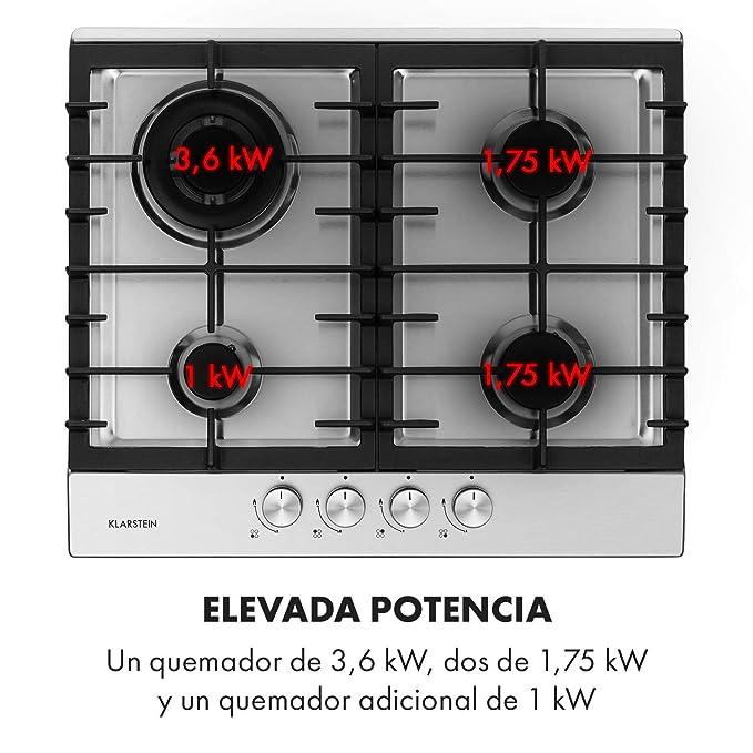 Klarstein Ignito 4 zonas Cocina a gas - 4 llamas, 60 cm, quemadores Sabaf, gas natural/gas propano, válvulas de seguridad, desconexión automática, ...
